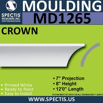 """MD1265 Spectis Crown Molding Trim 7""""P x 8""""H x 144""""L"""