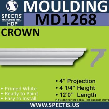 """MD1268 Spectis Crown Molding Trim 4""""P x 4 1/4""""H x 144""""L"""
