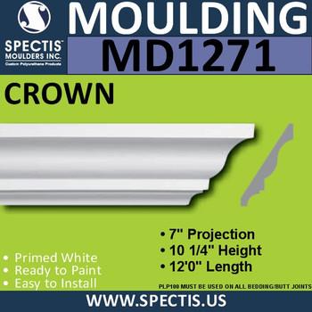 """MD1271 Spectis Crown Molding Trim 7""""P x 10 1/4""""H x 144""""L"""