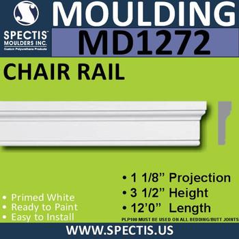"""MD1272 Spectis Crown Molding Trim 1 1/8""""P x 3 1/2""""H x 144""""L"""