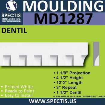 """MD1287 Spectis Molding Dentil Trim 1 1/8""""P x 4 1/2""""H x 144""""L"""