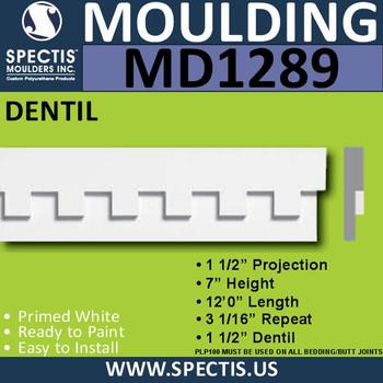 """MD1289 Spectis Molding Dentil Trim 1 1/2""""P x 7""""H x 144""""L"""