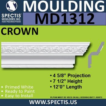 """MD1312 Spectis Crown Molding Trim 4 5/8""""P x 7 1/2""""H x 144""""L"""