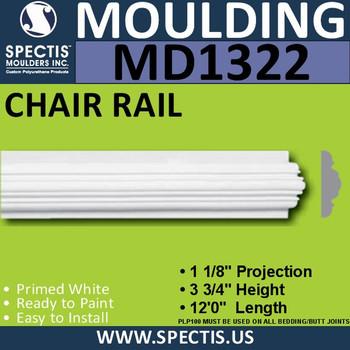 """MD1322 Spectis Molding Plant on Trim 1 1/8""""P x 3 3/4""""H x 144""""L"""