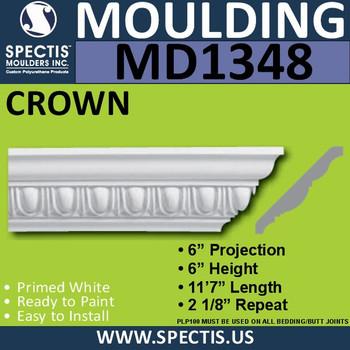 """MD1348 Spectis Crown Molding Trim 6""""P x 6""""H x 139""""L"""