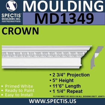 """MD1349 Spectis Crown Molding Trim 2 3/4""""P x 5""""H x 138""""L"""