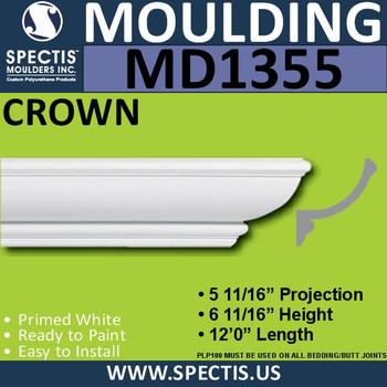 """MD1355 Spectis Crown Molding 5 11/16""""P x 6 11/16""""H x 144""""L"""