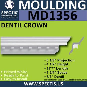 """MD1356 Spectis Crown Molding Trim 5 1/8""""P x 4 1/2""""H x 139""""L"""
