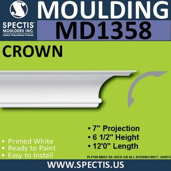 """MD1358 Spectis Crown Molding Trim 7""""P x 6 1/2""""H x 144""""L"""