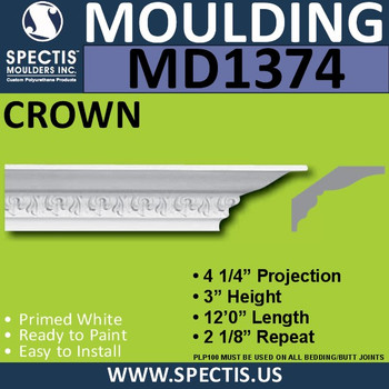 """MD1374 Spectis Dentil Molding Trim 3""""P x 4 1/4""""H x 144""""L"""