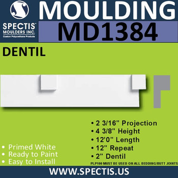 "MD1384 Spectis Molding Dentil 2 3/16""P x 4 3/8""H x 144""L"