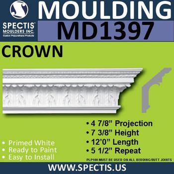 """MD1397 Spectis Crown Molding Trim 4 7/8""""P x 7 3/8""""H x 144""""L"""