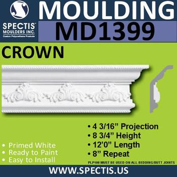"""MD1399 Spectis Crown Molding Trim 4 3/16""""P x 8 3/4""""H x 144""""L"""