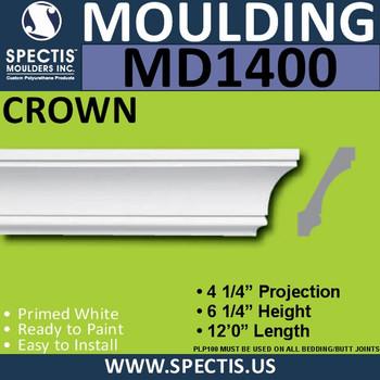 """MD1400 Spectis Crown Molding Trim 4 1/4""""P x 6 1/4""""H x 144""""L"""