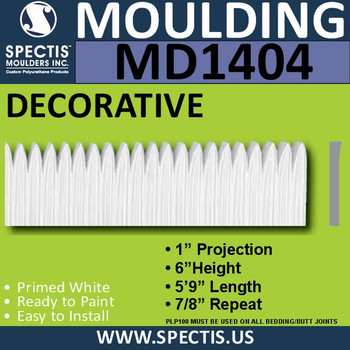 """MD1404 Spectis Molding Base Cap Trim 1""""P x 6""""H x 5' 9""""L"""