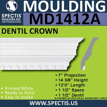 "MD1412A Spectis Crown Molding Dentil 7""P x 14 3/8""H x 144""L"