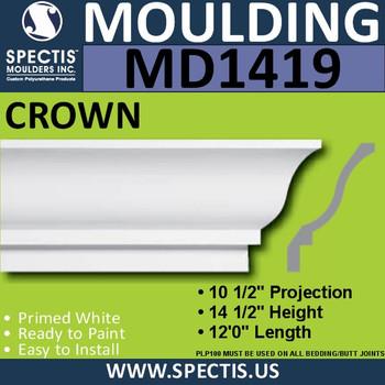 """MD1419 Spectis Crown Molding 10 1/2""""P x 14 1/2""""H x 144""""L"""