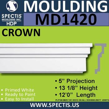 """MD1420 Spectis Molding Base Cap Trim 5""""P x 13 1/8""""H x 144""""L"""