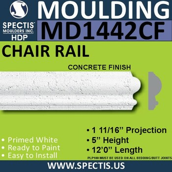 "MD1442CF Spectis Concrete Finish Rail 1 11/16""P x 5""H x 144""L"