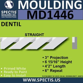 """MD1446-Straight Spectis Molding Dentil 3""""P x 6 15/16""""H x 50"""""""