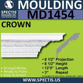 """MD1454 Spectis Crown Molding Trim 8 1/2""""P x 8 1/2""""H x 144""""L"""