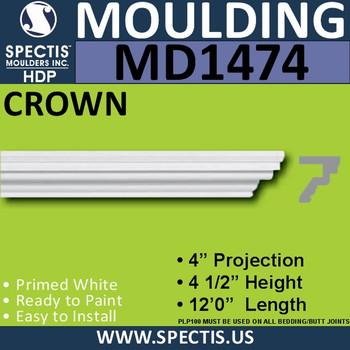 """MD1474 Spectis Molding Crown Trim 4""""P x 4 1/2""""H x 144""""L"""