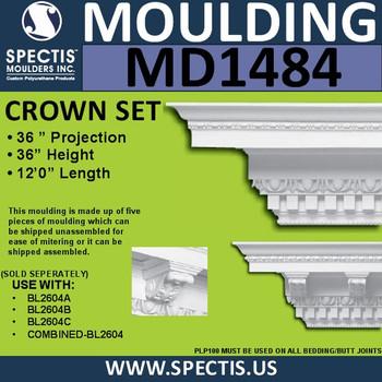 """MD1484 Spectis Crown Molding Dentil Trim 36""""P x 36""""H x 144""""L"""