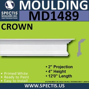 """MD1489 Spectis Molding Base Cap Trim 2""""P x 4""""H x 144""""L"""