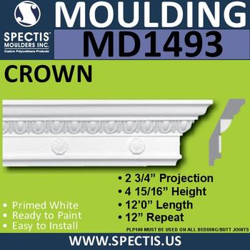 """MD1493 Spectis Crown Molding Trim 2 3/4""""P x 4 15/16""""H x 144""""L"""