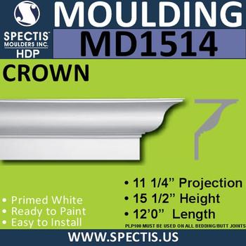 """MD1514 Spectis Crown Molding Trim 11 1/4""""P x 15 1/2""""H x 144""""L"""