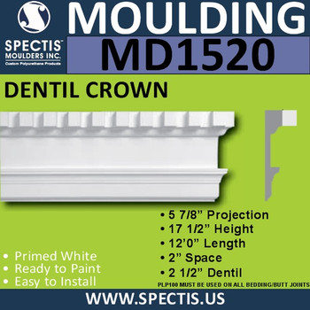 """MD1520 Spectis Molding Base Cap 5 7/8""""P x 17 1/2""""H x 144""""L"""