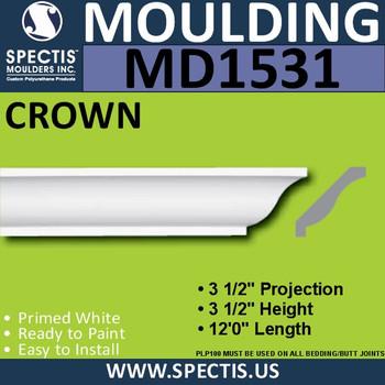 """MD1531 Spectis Crown Molding Trim 3 1/2""""P x 3 1/2""""H x 144""""L"""