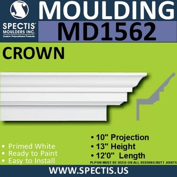 """MD1562 Spectis Crown Molding Trim 10""""P x 13""""H x 144""""L"""