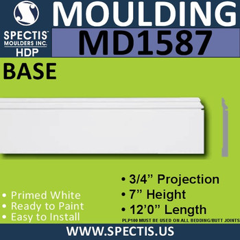 "MD1587 Spectis Molding Base Trim 3/4""P x 7""H x 144""L"