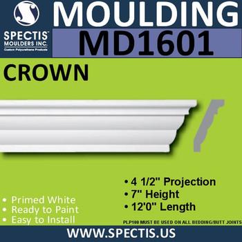 """MD1601 Spectis Crown Molding Trim 4 1/2""""P x 7""""H x 144""""L"""