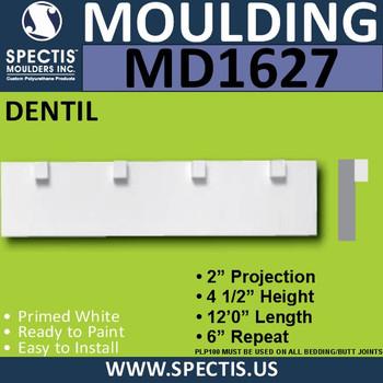 """MD1627 Spectis Molding Dentil Trim 2""""P x 4 1/2""""H x 144""""L"""