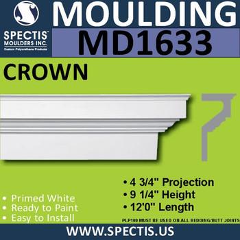 """MD1633 Spectis Molding Base Cap Trim 4 3/4""""P x 9 1/4""""H x 144""""L"""