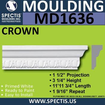 """MD1636 Spectis Molding Cap Trim 1 1/2""""P x 3 1/4""""H x 143.75""""L"""