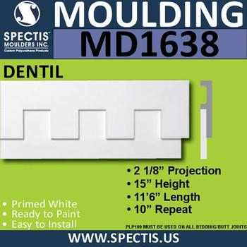 """MD1638 Spectis Molding Dentil Trim 2 1/8""""P x 15""""H x 138""""L"""
