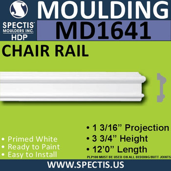 """MD1641 Spectis Molding Cap Trim 1 3/16""""P x 3 3/4""""H x 144""""L"""