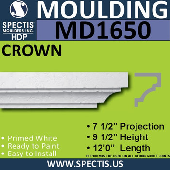 """MD1650 Spectis Molding Cap Trim 7 1/2""""P x 9 1/2""""H  x 144""""L"""