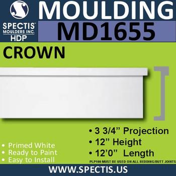 """MD1655 Spectis Molding Cap Trim 3 3/4""""P x 12""""H x 144""""L"""