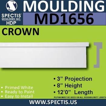 """MD1656 Spectis Molding Cap Trim 3""""P x 8""""H x 144""""L"""