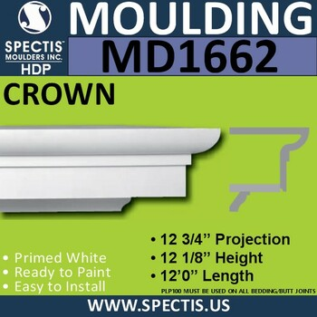 """MD1662 Spectis Crown Molding Trim 12 3/4""""P x 12 1/8""""H  x 144""""L"""