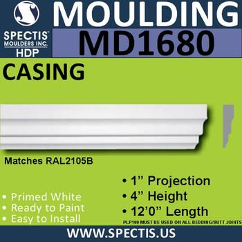 """MD1680 Spectis Molding Cap Trim 1""""P x 4""""H x 144""""L"""