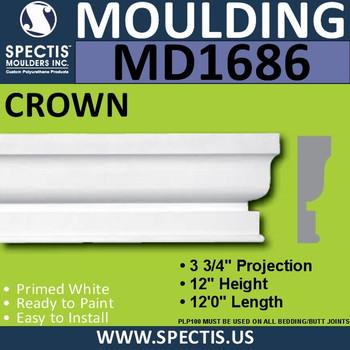 """MD1686 Spectis Molding Cap Trim 3 3/4""""P x 12""""H x 144""""L"""