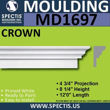 """MD1697 Spectis Molding Cap Trim 4 3/4""""P x 8 1/4""""H x 144""""L"""