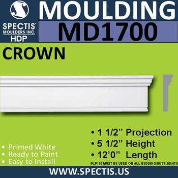 """MD1700 Spectis Molding Base Trim 1 1/2""""P x 5 1/2""""H x 144""""L"""