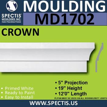 """MD1702 Spectis Crown Molding Trim 5""""P x 19""""H x 144""""L"""