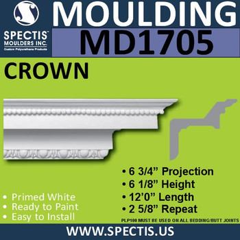 """MD1705 Spectis Crown Molding Trim 6 3/4""""P x 6 1/8""""H x 144""""L"""